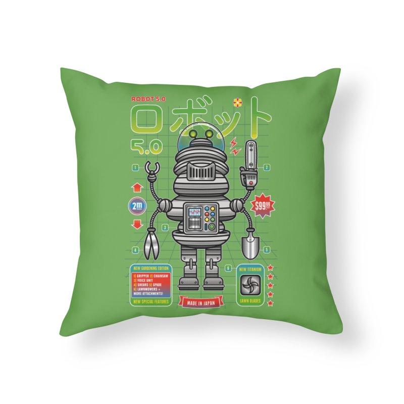 Robot 5.0 - Gardening Edition Home Throw Pillow by heavyhand's Artist Shop