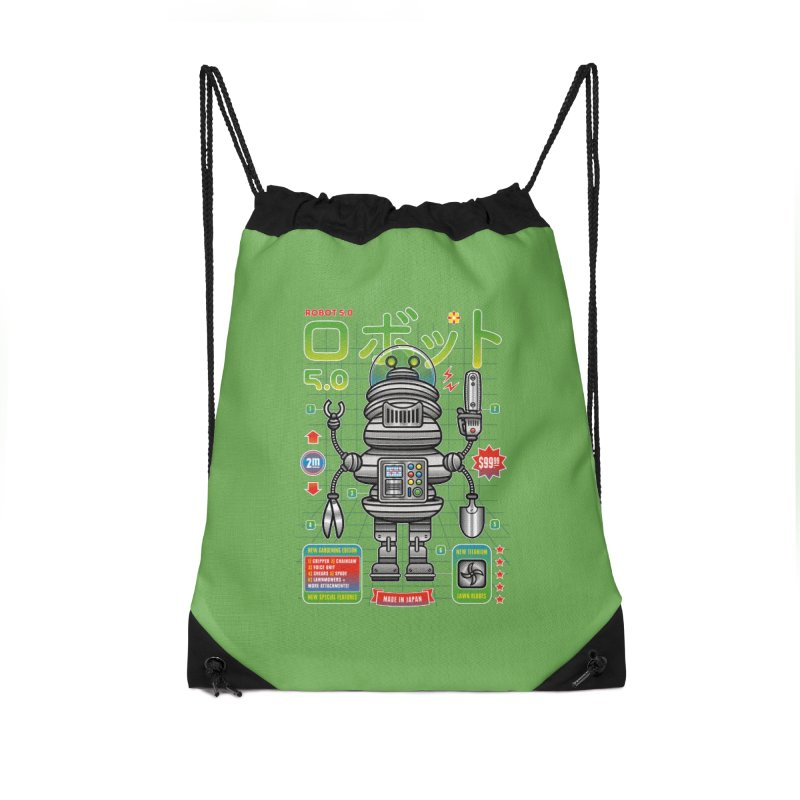 Robot 5.0 - Gardening Edition Accessories Drawstring Bag Bag by heavyhand's Artist Shop