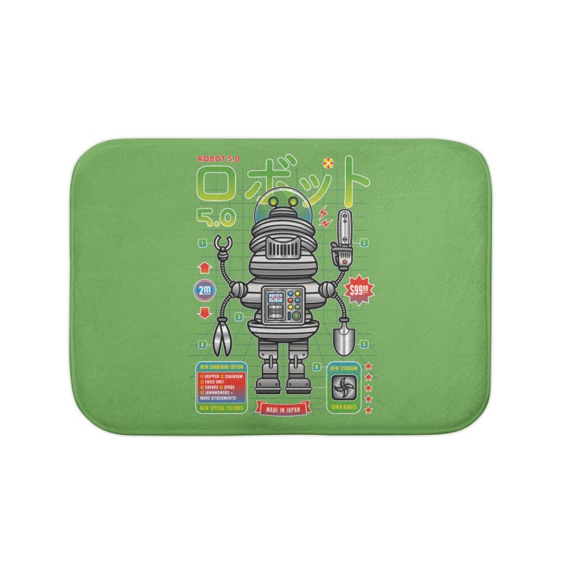 Robot 5.0 - Gardening Edition Home Bath Mat by heavyhand's Artist Shop