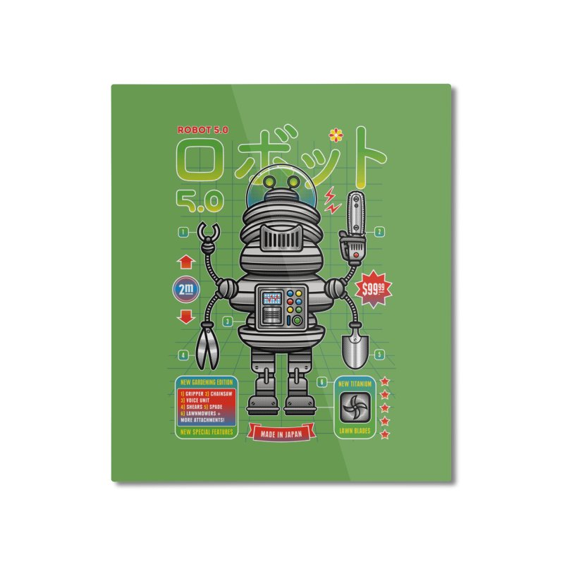 Robot 5.0 - Gardening Edition Home Mounted Aluminum Print by heavyhand's Artist Shop