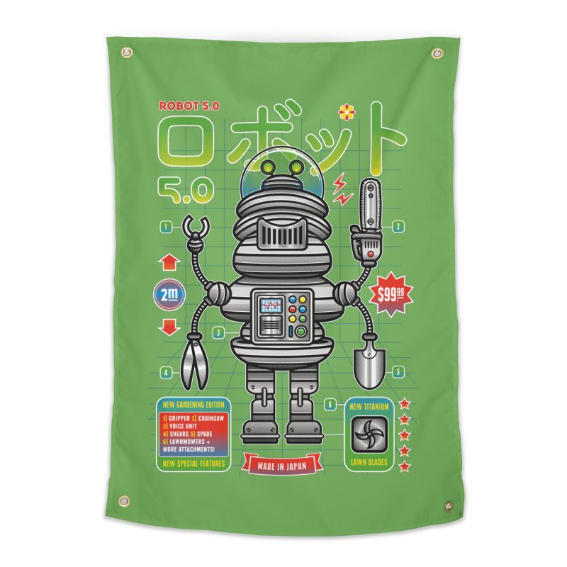 Robot 5.0 - Gardening Edition Home Tapestry by heavyhand's Artist Shop