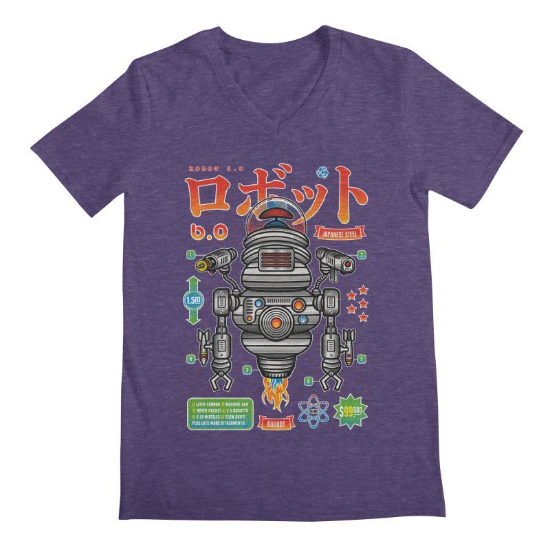 Robot 6.0 - Killbot Edition Men's Regular V-Neck by heavyhand's Artist Shop