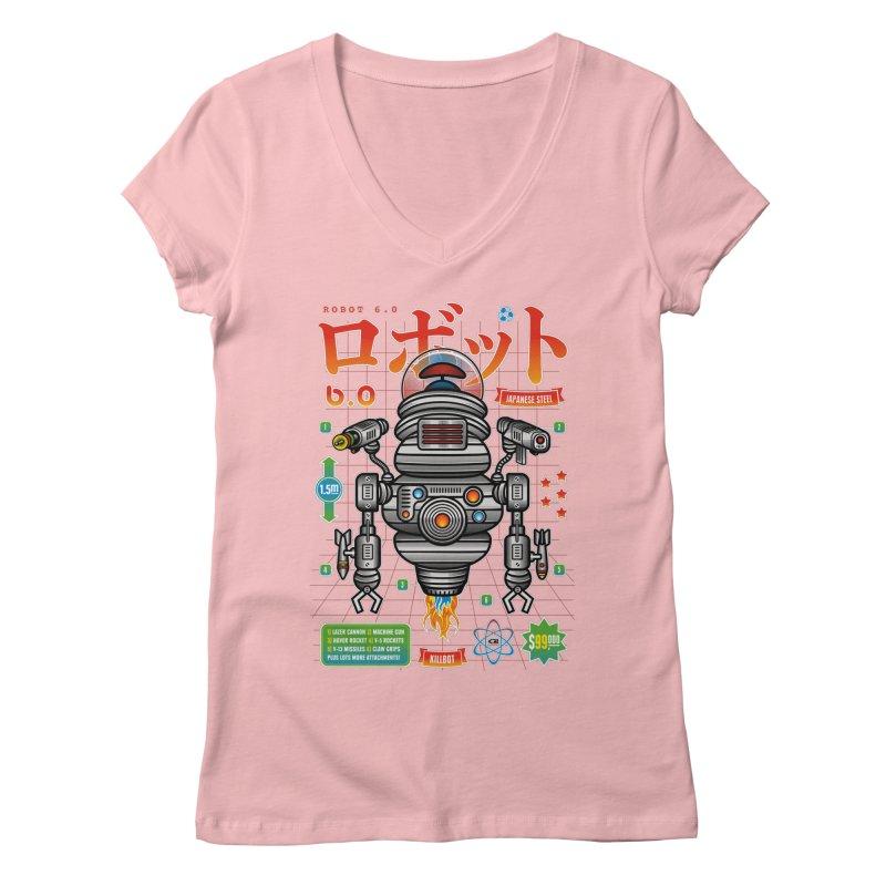 Robot 6.0 - Killbot Edition Women's V-Neck by heavyhand's Artist Shop