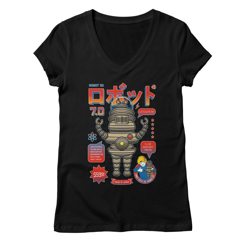Robot 7.0 - Classic Edition Women's V-Neck by heavyhand's Artist Shop