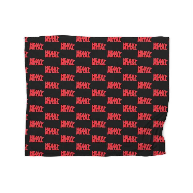 Heavy Metal Red Logo Home Fleece Blanket Blanket by Heavy Metal Magazine