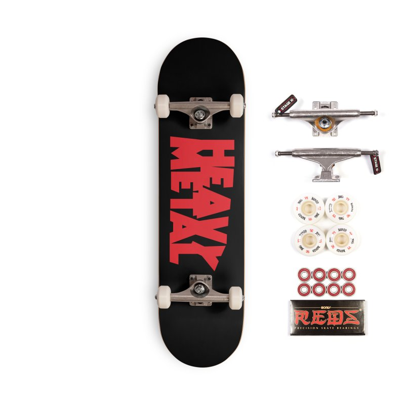 Heavy Metal Red Logo Accessories Complete - Pro Skateboard by Heavy Metal Magazine