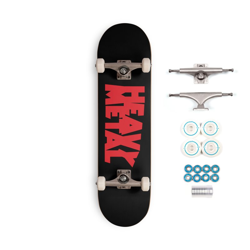 Heavy Metal Red Logo Accessories Complete - Basic Skateboard by Heavy Metal Magazine