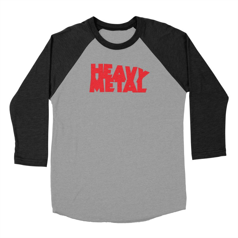 Heavy Metal Red Logo Men's Baseball Triblend Longsleeve T-Shirt by Heavy Metal Magazine