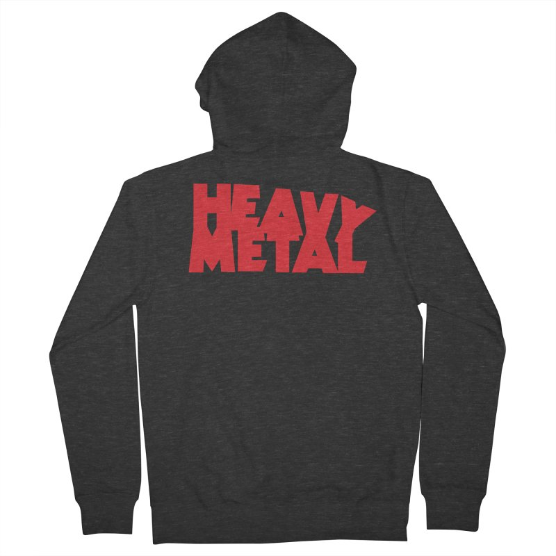 Heavy Metal Red Logo Men's French Terry Zip-Up Hoody by Heavy Metal Magazine