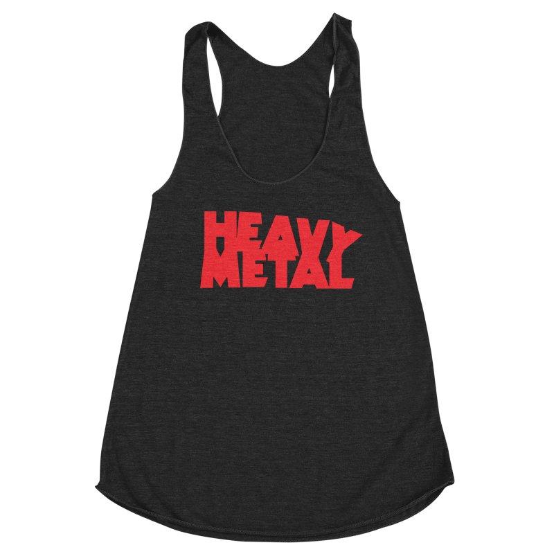 Heavy Metal Red Logo Women's Racerback Triblend Tank by Heavy Metal Magazine