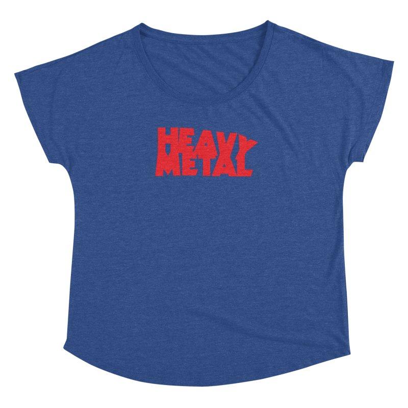 Heavy Metal Red Logo Women's Dolman Scoop Neck by Heavy Metal Magazine