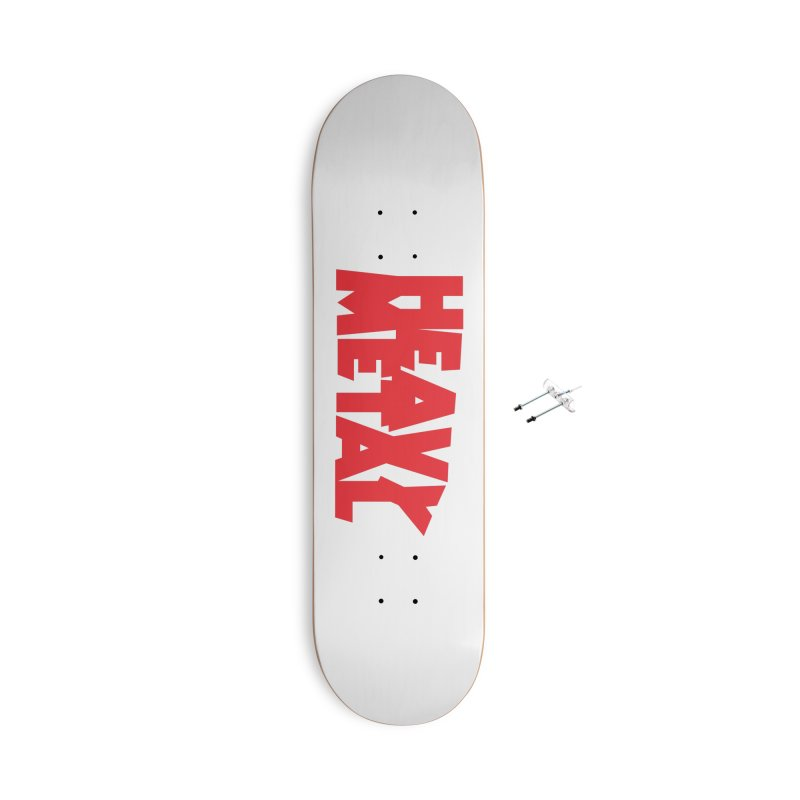 Heavy Metal Red Logo Accessories With Hanging Hardware Skateboard by Heavy Metal Magazine