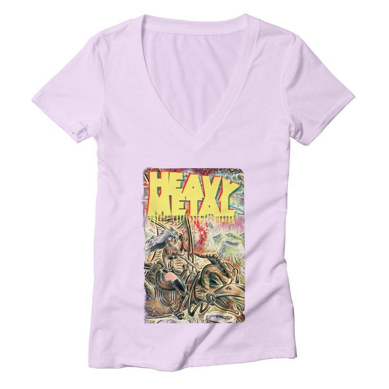 Joe Badon Women's Deep V-Neck V-Neck by Heavy Metal Magazine