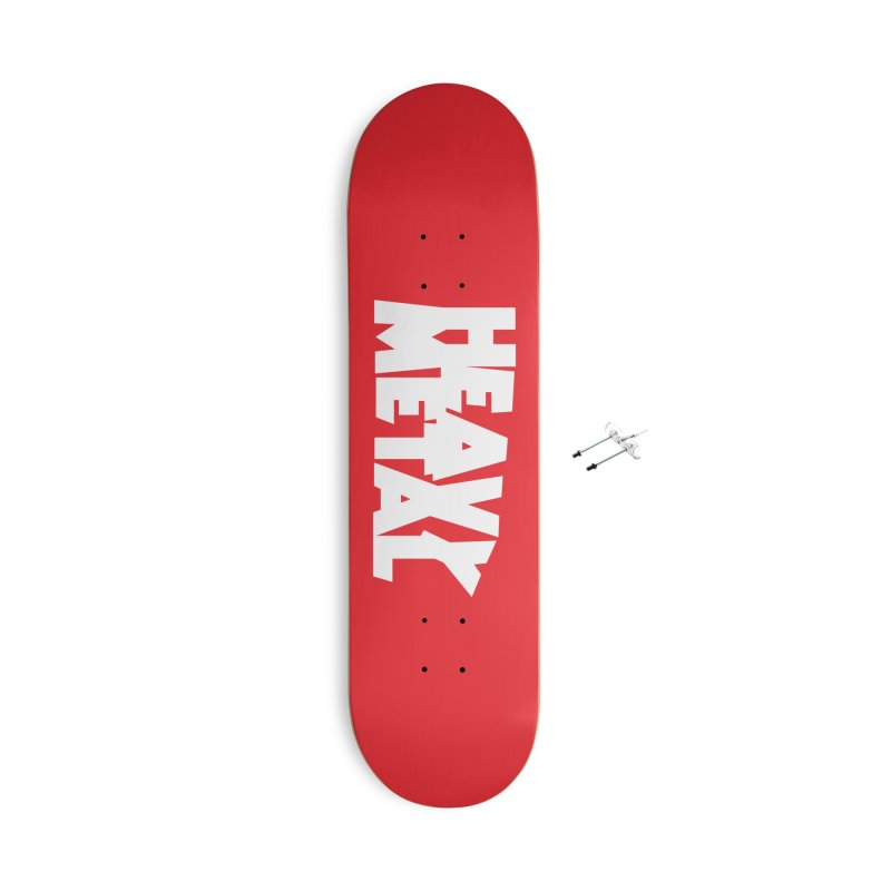 Heavy Metal White Logo Accessories With Hanging Hardware Skateboard by Heavy Metal Magazine