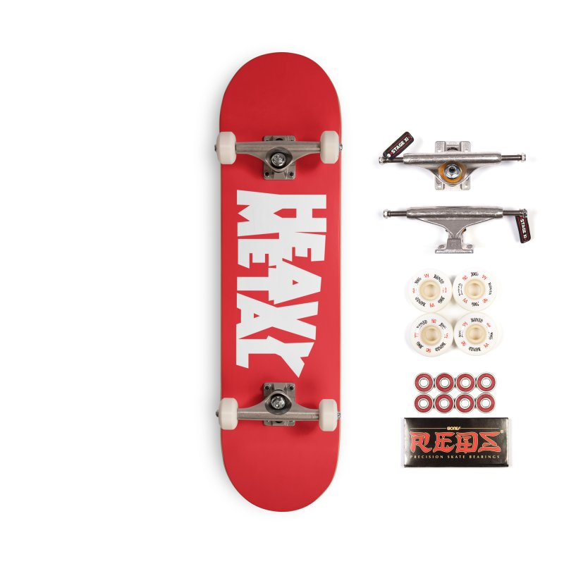 Heavy Metal White Logo Accessories Complete - Pro Skateboard by Heavy Metal Magazine