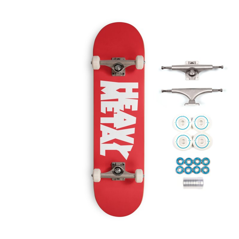 Heavy Metal White Logo Accessories Complete - Basic Skateboard by Heavy Metal Magazine