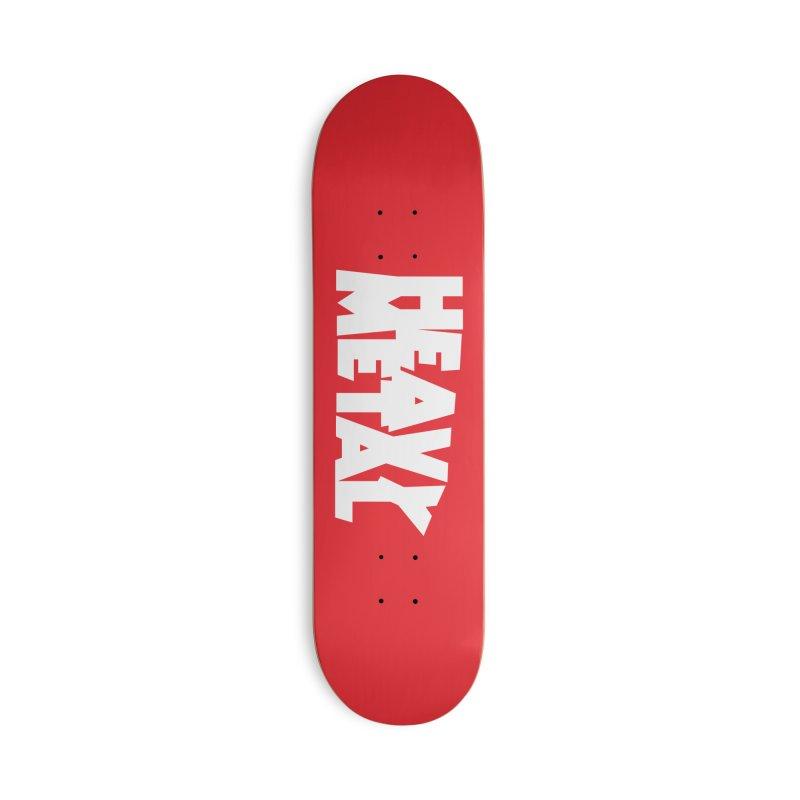 Heavy Metal White Logo Accessories Skateboard by Heavy Metal Magazine