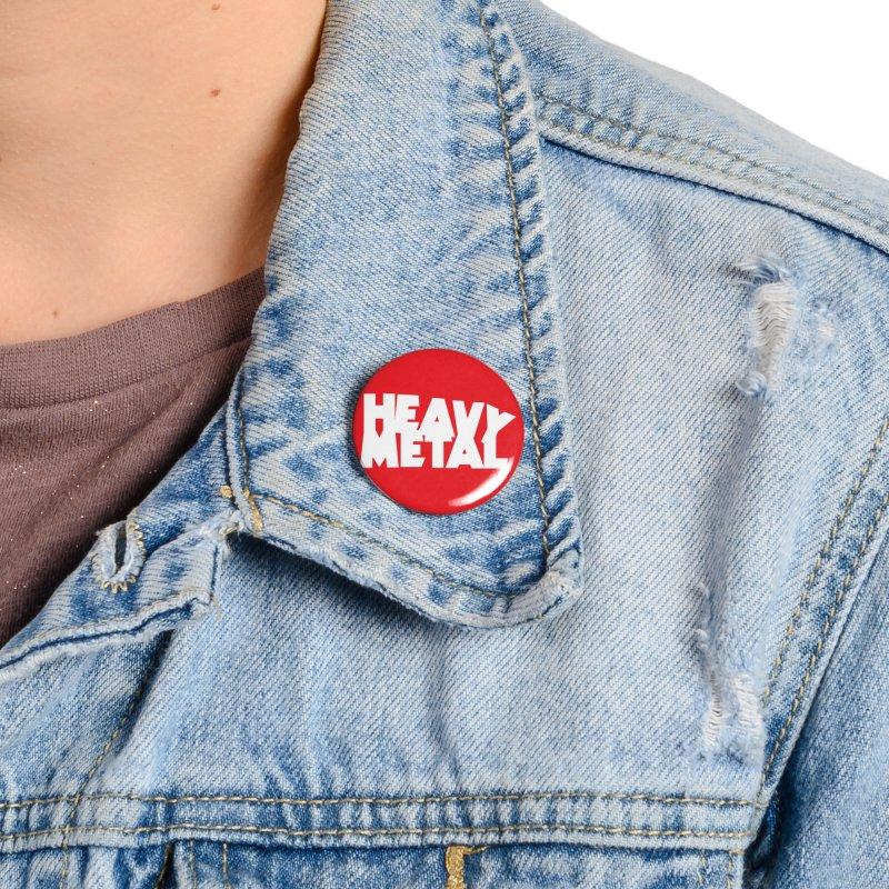 Heavy Metal White Logo Accessories Button by Heavy Metal Magazine
