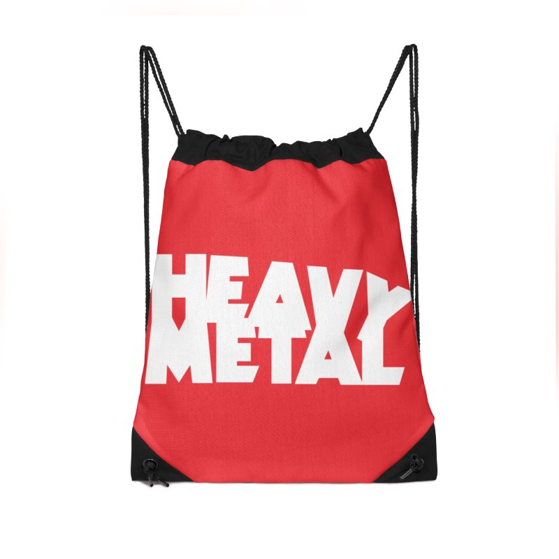 Heavy Metal White Logo Accessories Drawstring Bag Bag by Heavy Metal Magazine
