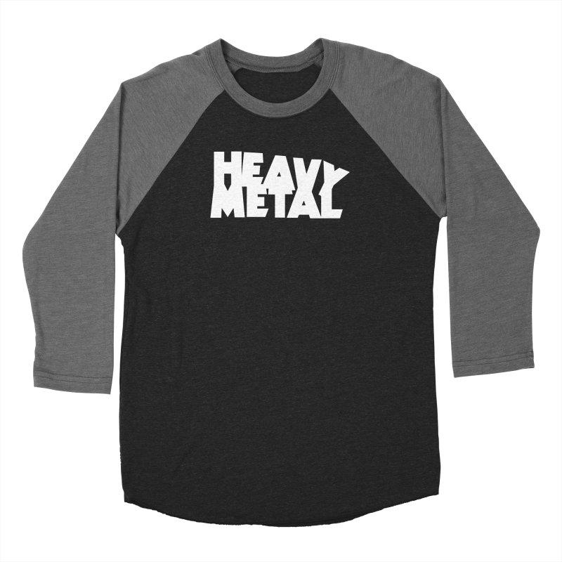 Heavy Metal White Logo in Men's Baseball Triblend Longsleeve T-Shirt Grey Triblend Sleeves by Heavy Metal Magazine
