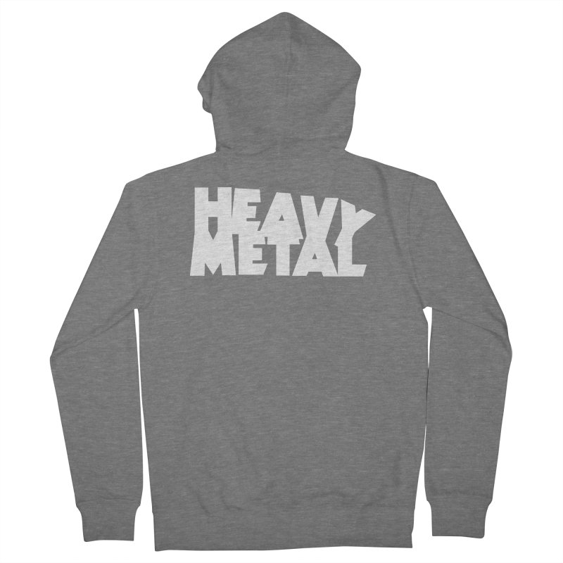 Heavy Metal White Logo Men's French Terry Zip-Up Hoody by Heavy Metal Magazine