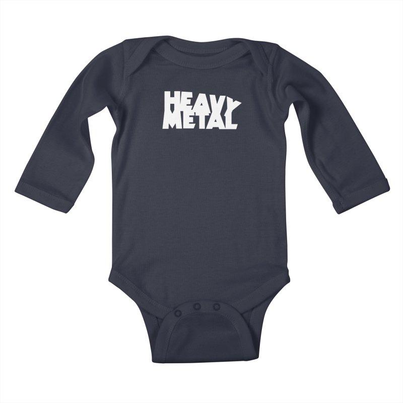 Heavy Metal White Logo Kids Baby Longsleeve Bodysuit by Heavy Metal Magazine