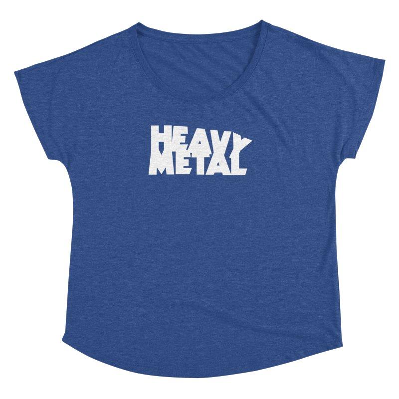 Heavy Metal White Logo Women's Dolman Scoop Neck by Heavy Metal Magazine