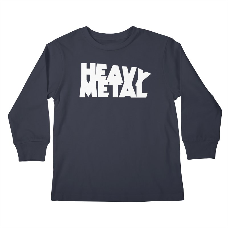 Heavy Metal White Logo Kids Longsleeve T-Shirt by Heavy Metal Magazine