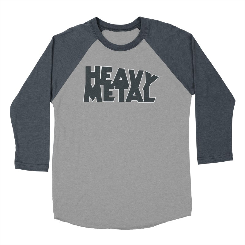 Heavy Metal Black Logo Men's Baseball Triblend Longsleeve T-Shirt by Heavy Metal Magazine