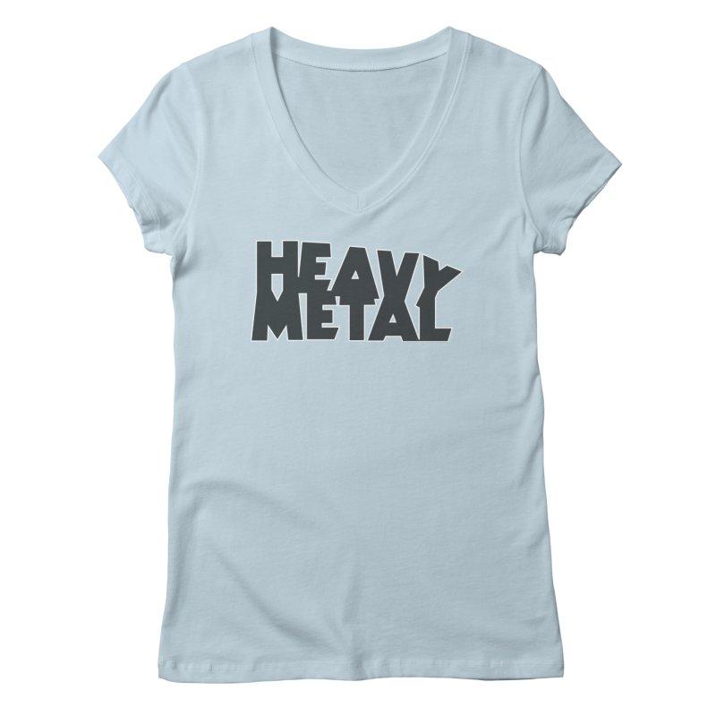 Heavy Metal Black Logo Women's V-Neck by Heavy Metal Magazine