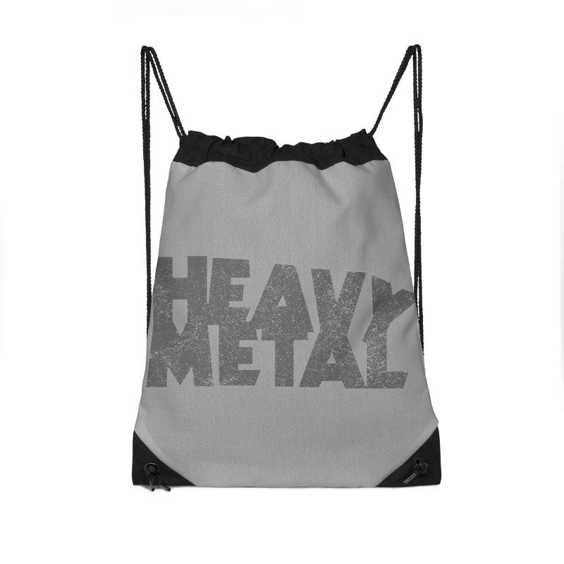 Heavy Metal Distressed Accessories Drawstring Bag Bag by Heavy Metal Magazine