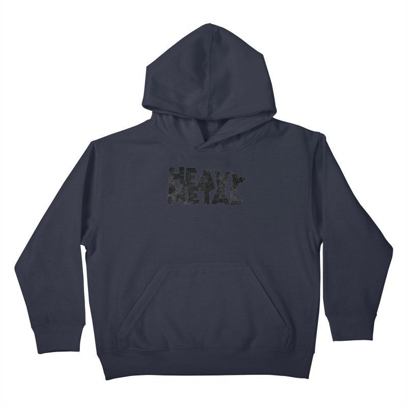 Heavy Metal Black Distressed Logo Kids Pullover Hoody by Heavy Metal Magazine