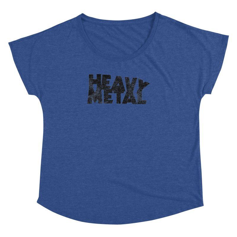 Heavy Metal Black Distressed Logo Women's Dolman Scoop Neck by Heavy Metal Magazine