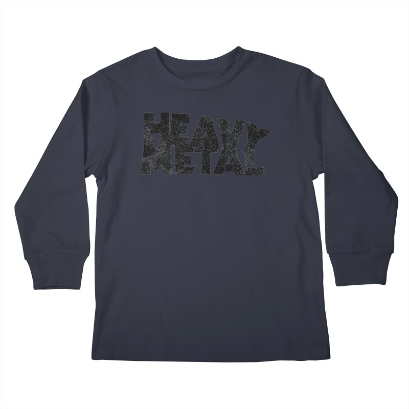 Heavy Metal Black Distressed Logo Kids Longsleeve T-Shirt by Heavy Metal Magazine