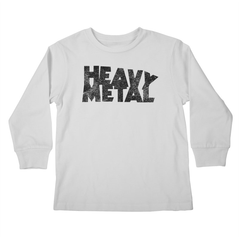Heavy Metal Black Distressed Logo Kids Longsleeve T-Shirt by Heavy Metal Magazine