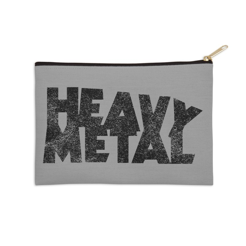 Heavy Metal Black Distressed Logo Accessories Zip Pouch by Heavy Metal Magazine