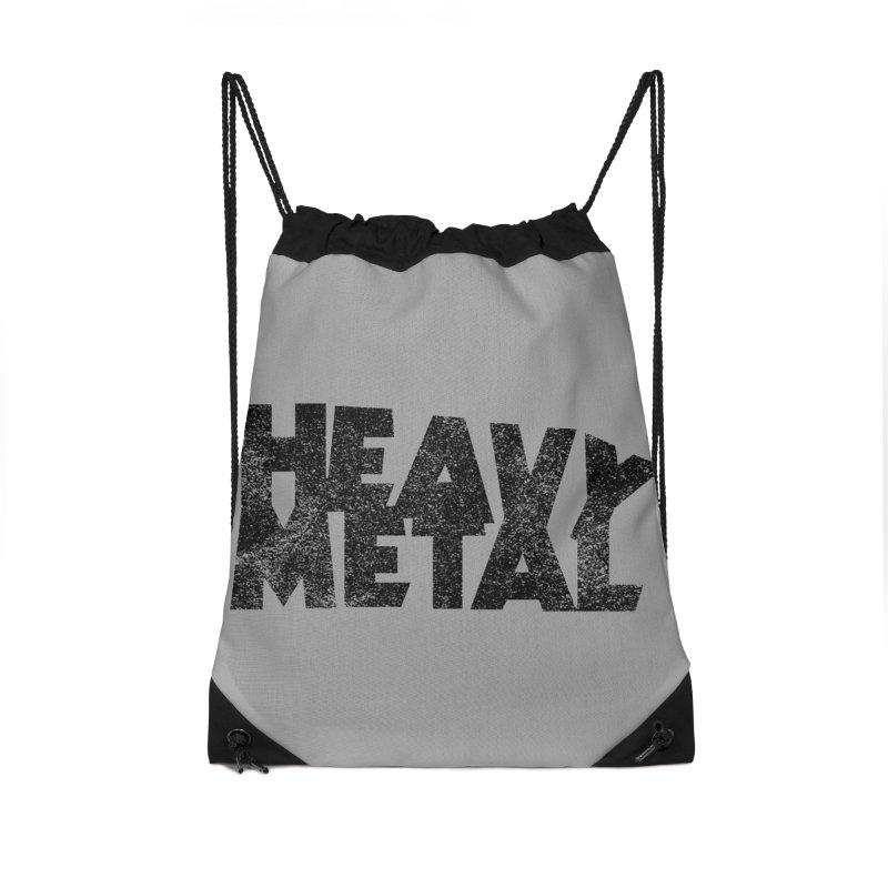 Heavy Metal Black Distressed Logo Accessories Drawstring Bag Bag by Heavy Metal Magazine