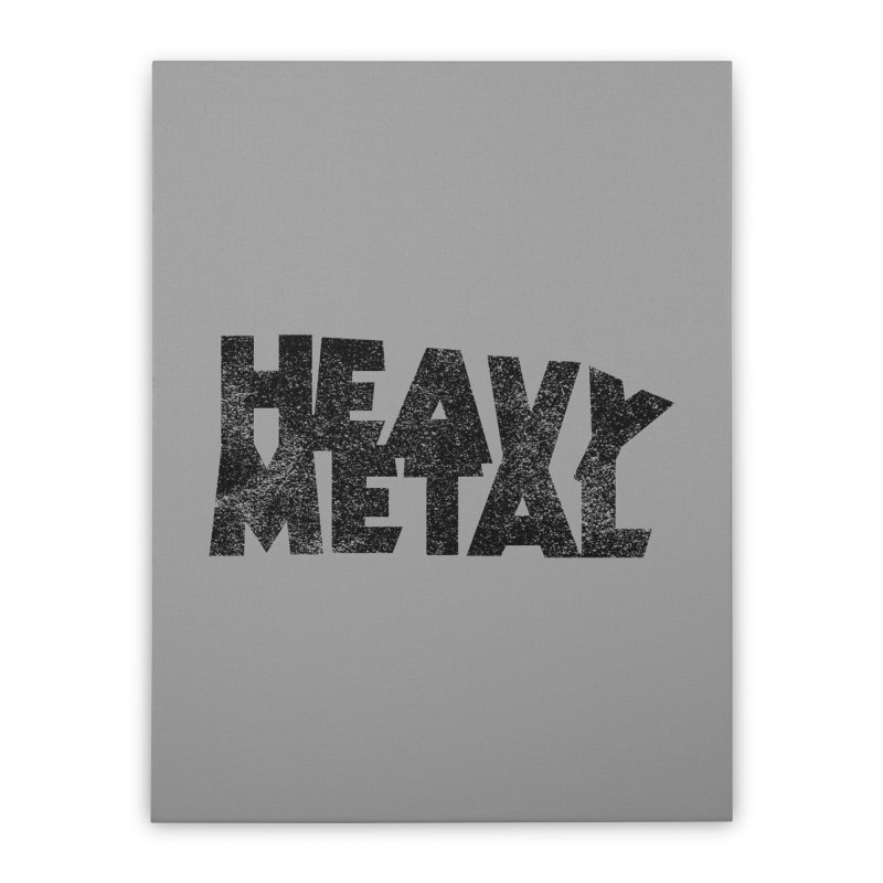 Heavy Metal Black Distressed Logo Home Stretched Canvas by Heavy Metal Magazine