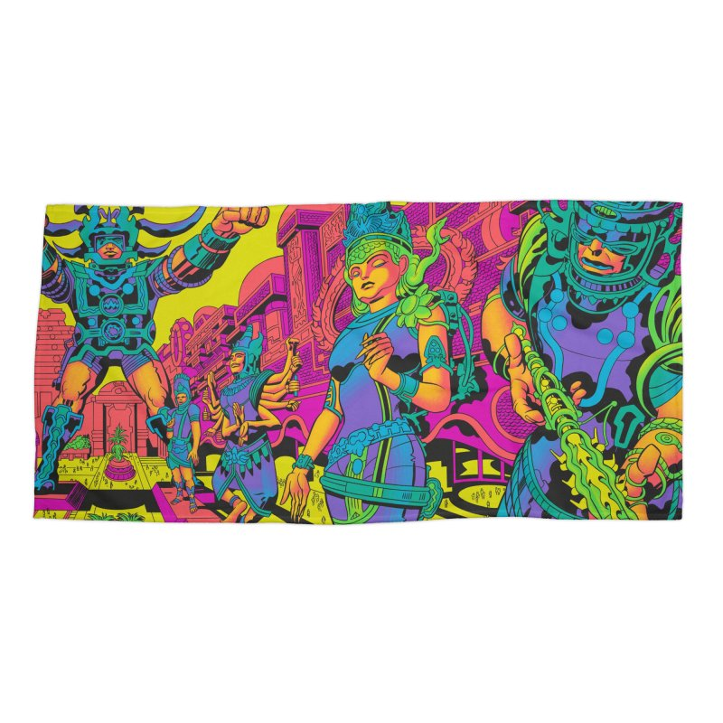 Brahmas Pavilions of Joy - Jack Kirby and Barry Geller Accessories Beach Towel by Heavy Metal Magazine
