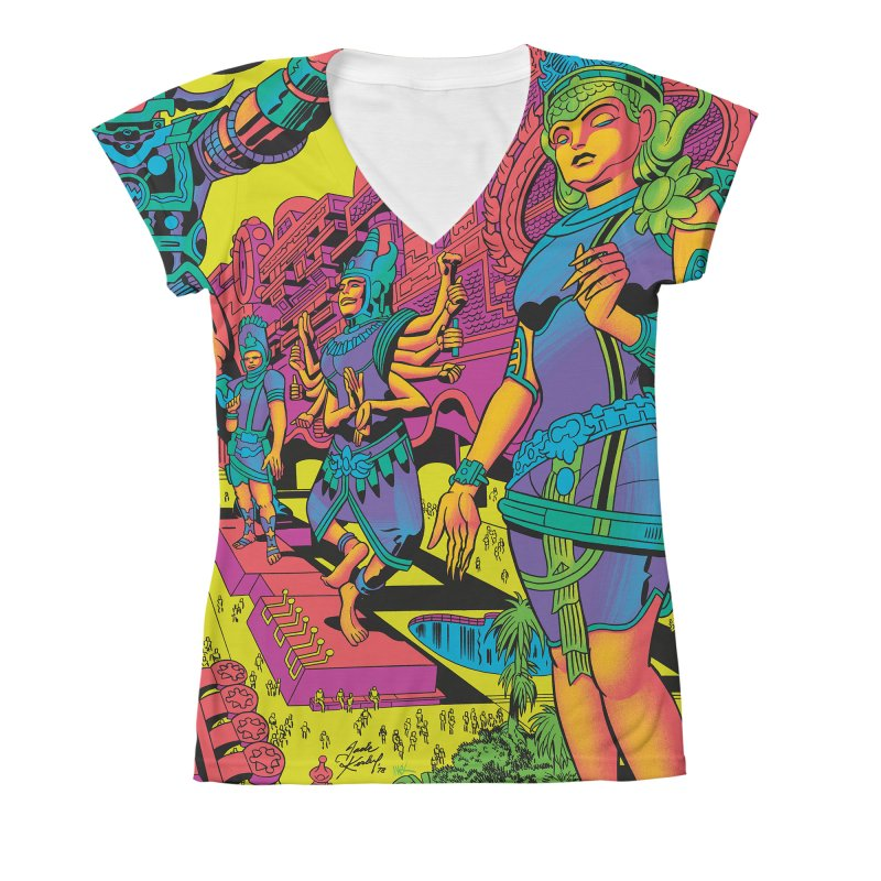 Brahmas Pavilions of Joy - Jack Kirby and Barry Geller Women's V-Neck All Over Print by Heavy Metal Magazine
