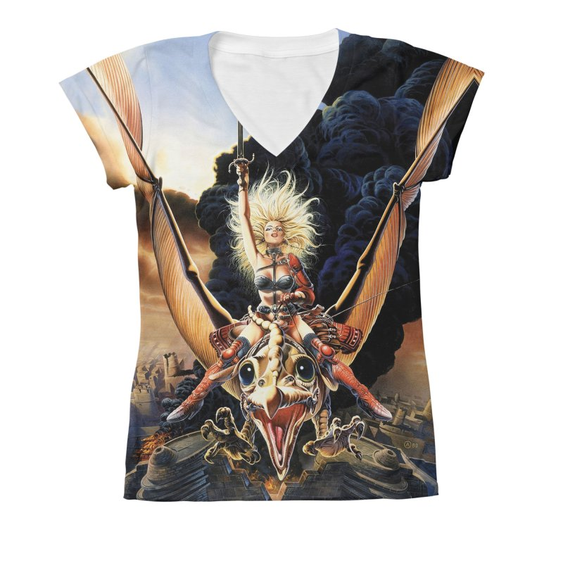 Taarna - Chris Achilleos Women's V-Neck All Over Print by Heavy Metal Magazine