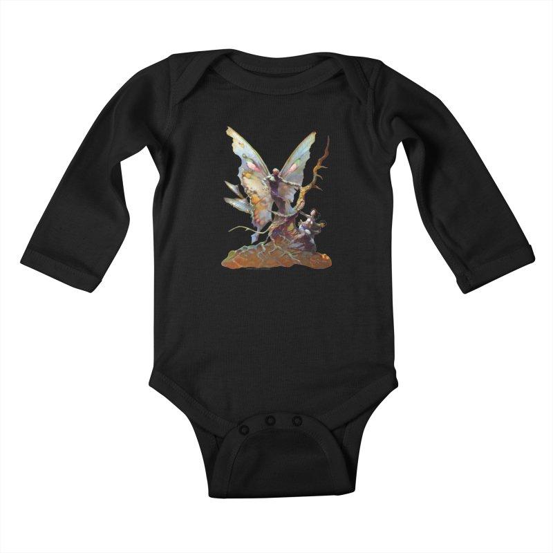 Mothman Kids Baby Longsleeve Bodysuit by Heavy Metal Magazine