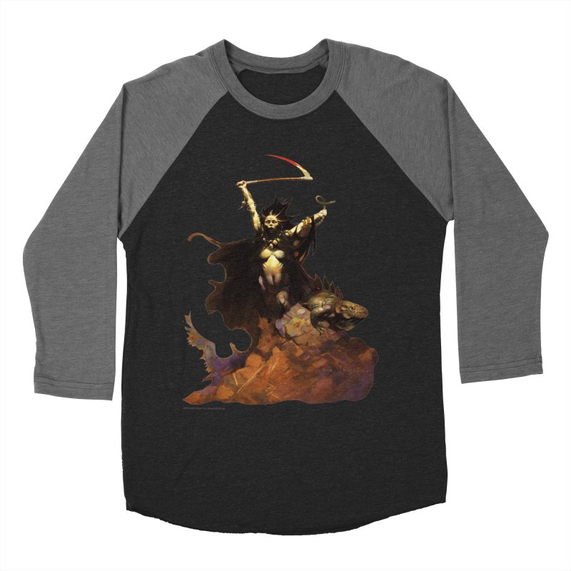 Woman with the Scythe Men's Baseball Triblend Longsleeve T-Shirt by Heavy Metal Magazine