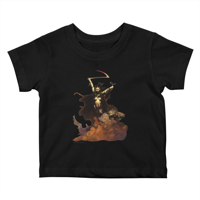 Woman with the Scythe Kids Baby T-Shirt by Heavy Metal Magazine