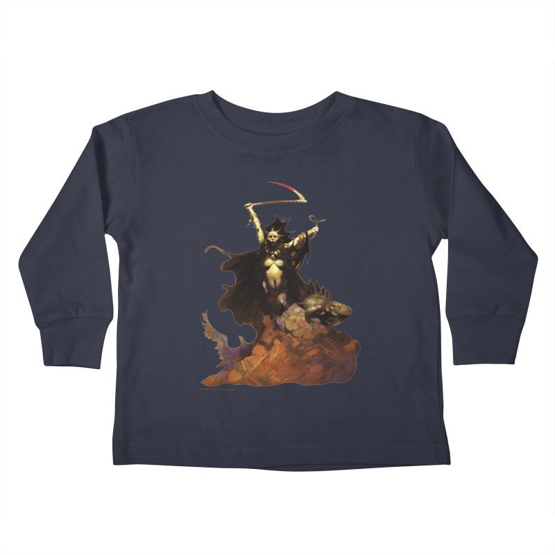 Woman with the Scythe Kids Toddler Longsleeve T-Shirt by Heavy Metal Magazine