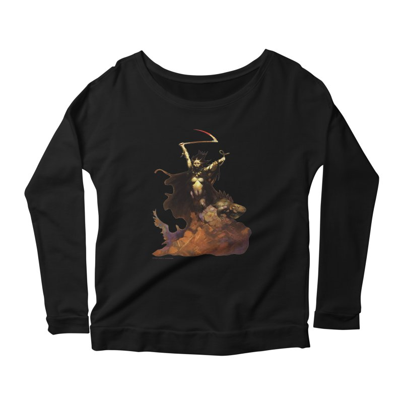 Woman with the Scythe Women's Scoop Neck Longsleeve T-Shirt by Heavy Metal Magazine