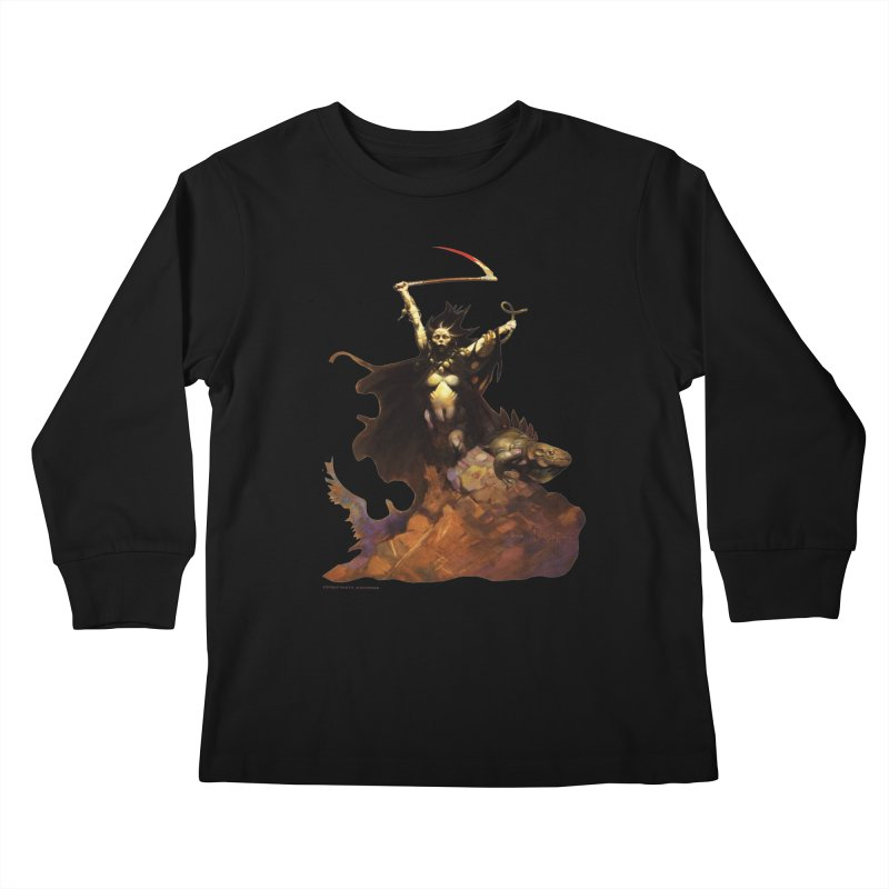 Woman with the Scythe Kids Longsleeve T-Shirt by Heavy Metal Magazine
