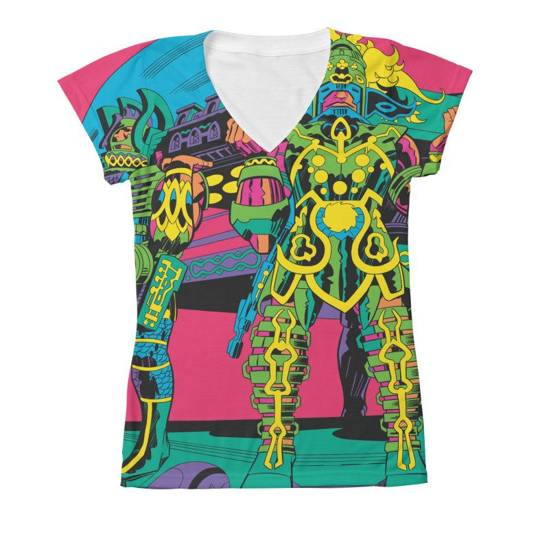 Terminal of the Gods - Jack Kirby and Barry Geller Women's All-Over Print V-Neck by Heavy Metal Magazine