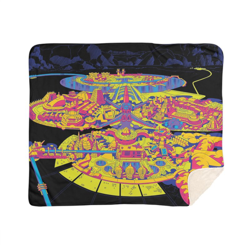 Science Fiction Land - Jack Kirby and Barry Geller Home Sherpa Blanket Blanket by Heavy Metal Magazine