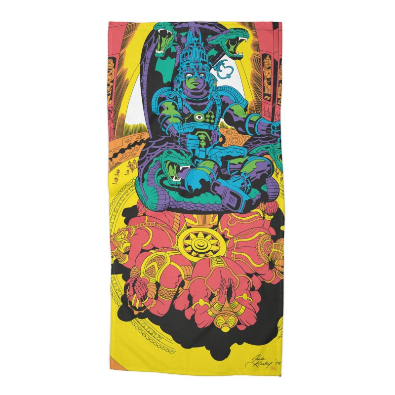 Royal Chambers of Brahma - Jack Kirby and Barry Geller Accessories Beach Towel by Heavy Metal Magazine